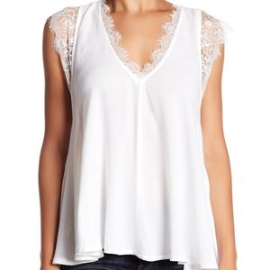 FREE PEOPLE Loving You Lace Flowy Romantic Top L